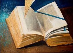 Bibbia, olio su tela -Arcabas