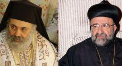 métropolite Paul Yazigi, archevêque grec-orthodoxe d'Alep et Alexandrette (à gauche); métropolite Jean Ibrahim, archevêque syro-orthodoxe d'Alep (à droite)